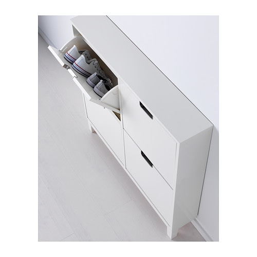 St ll shoe cabinet with 4 compartments white 96x90 cm ikea for Meuble a chaussures mural ikea