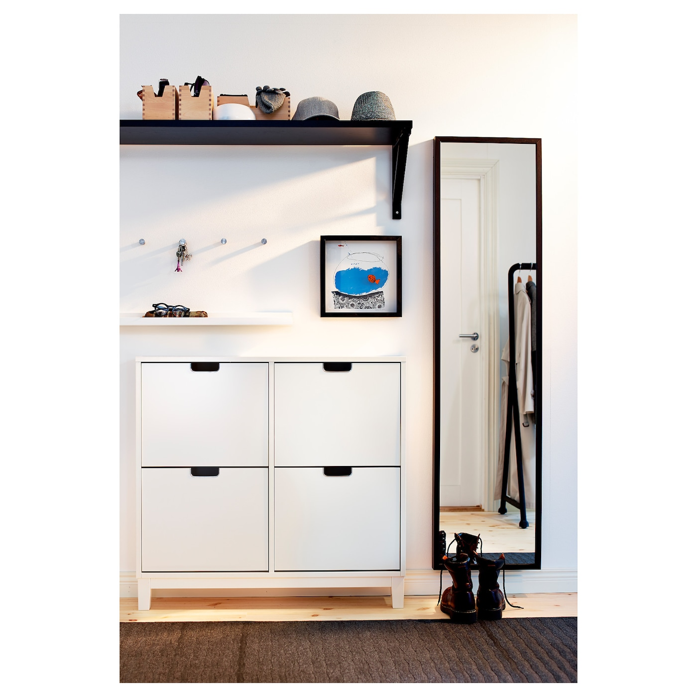 St ll shoe cabinet with 4 compartments white 96x90 cm ikea - Ikea mobile ingresso ...