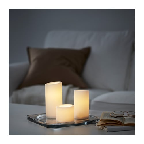 St Pen Led Block Candle Set Of 3 Battery Operated White