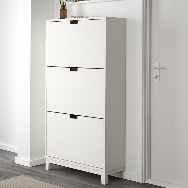 STÄLL Shoe cabinet with 3 compartments, white, 79x148 cm