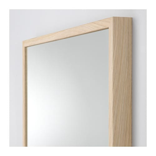 Stave mirror white stained oak effect 70x70 cm ikea for Miroir bois 50 x 70