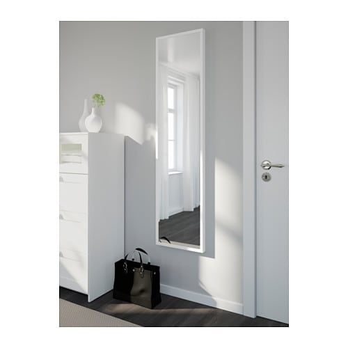 Stave mirror white 40x160 cm ikea for Miroir long mural