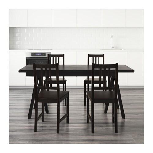 stefan ryggestad grebbestad table and 4 chairs black brown black 170 cm ikea. Black Bedroom Furniture Sets. Home Design Ideas