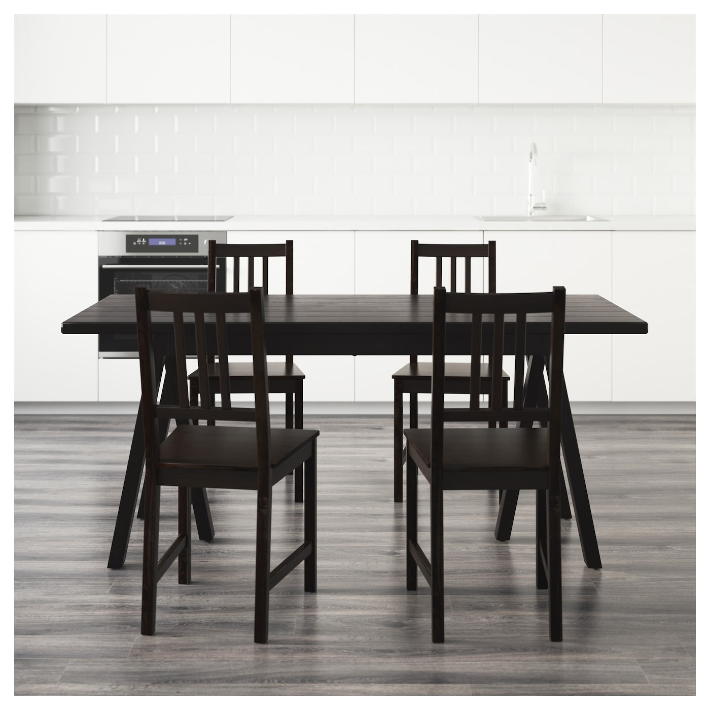 stefan ryggestad grebbestad table and 4 chairs black brown black 170 cm ikea. Black Bedroom Furniture Sets. Home Design Ideas