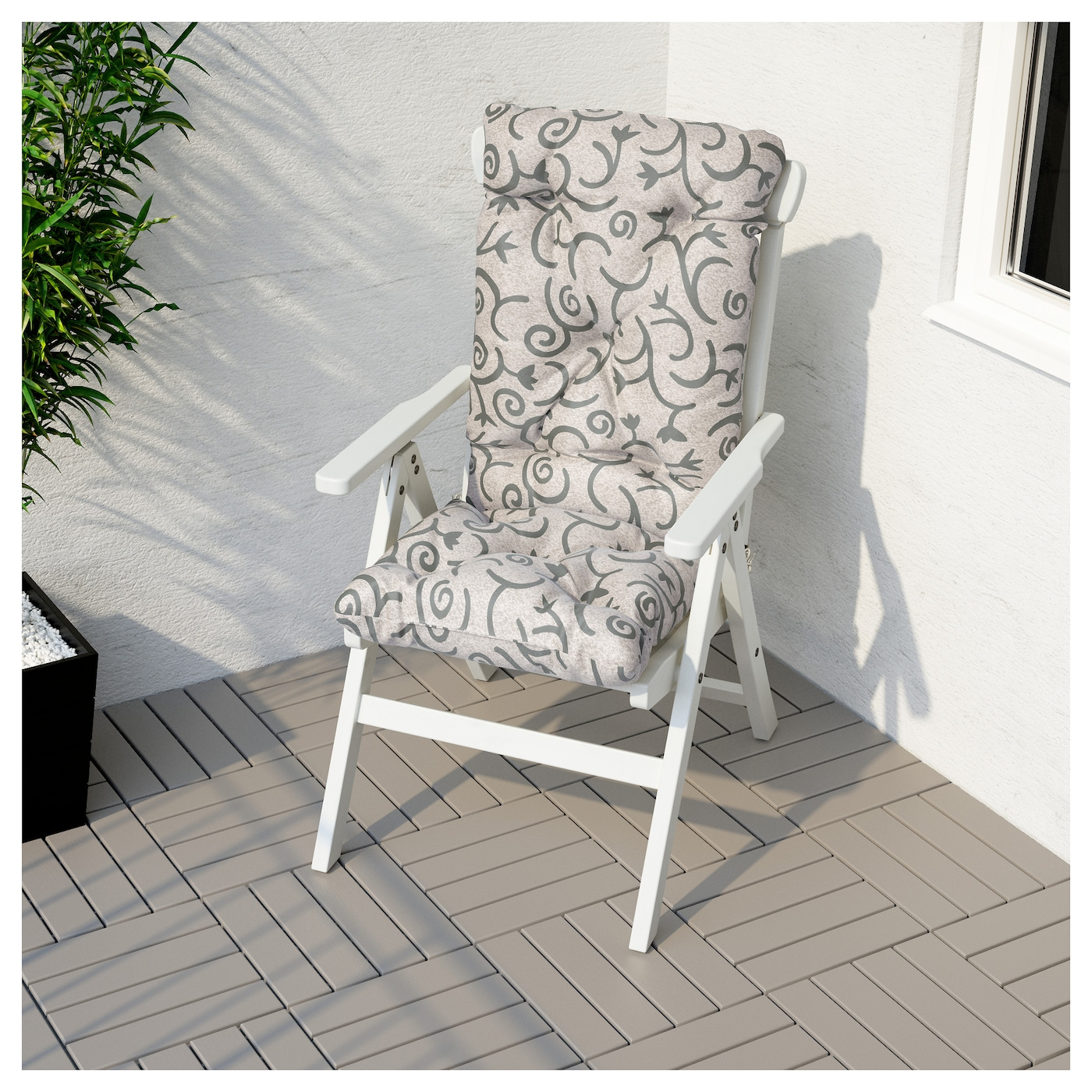 IKEA STEGÖN seat/back cushion, outdoor Ties keep the cushion firmly in place on the chair.