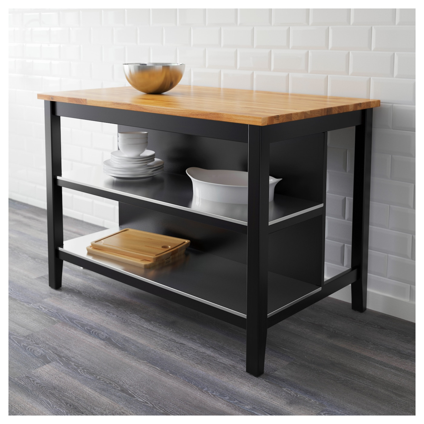 Kitchen Island Black Brown Oak