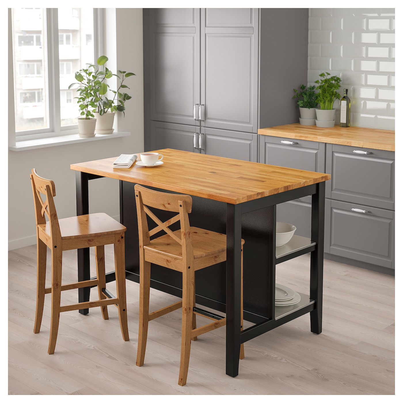 STENSTORP Kitchen Island Black-brown/oak 126x79 Cm