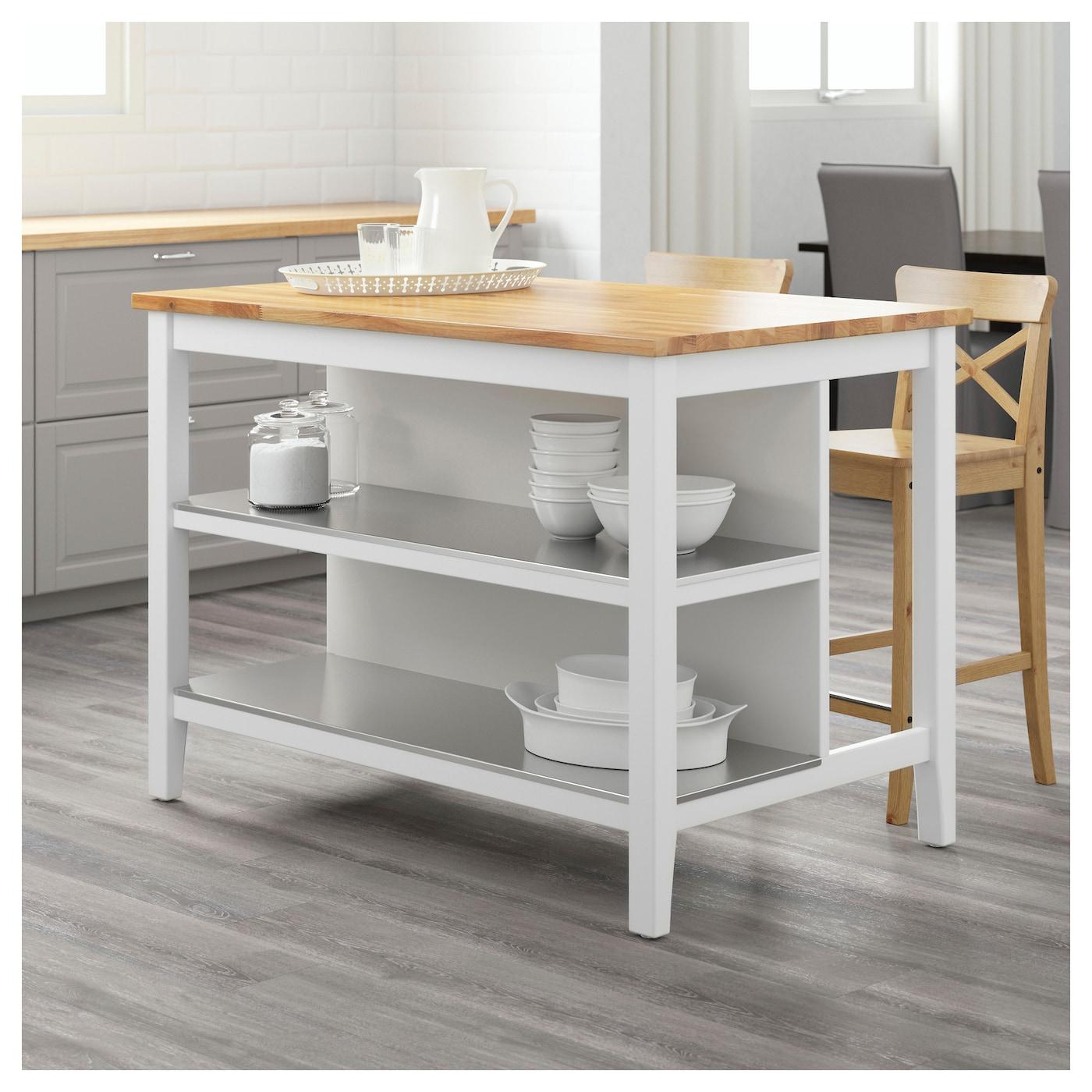 Stenstorp kitchen island white oak 126x79 cm ikea for White kitchen island