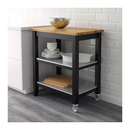 Go Home Black Industrial Kitchen Cart At Lowes Com: STENSTORP Kitchen Trolley Black-brown/oak 79x51x90 Cm