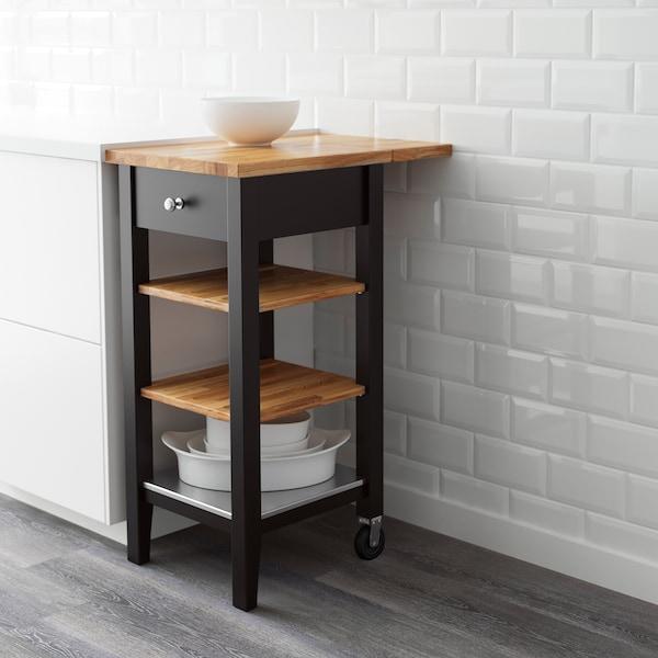 STENSTORP Kitchen trolley, black-brown/oak, 45x43x90 cm