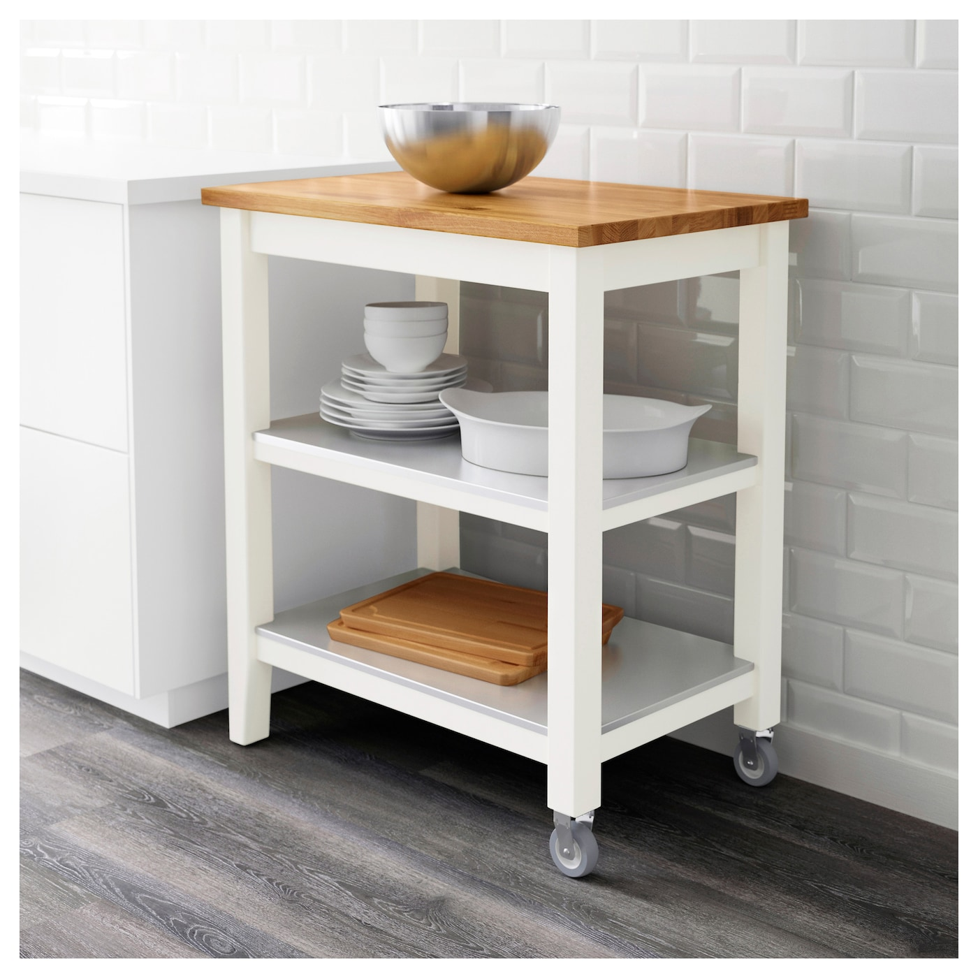 STENSTORP Kitchen Trolley White/oak 79x51x90 Cm