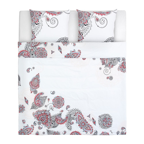 STICKBRÄCKA Quilt Cover And 2 Pillowcases White Red/black