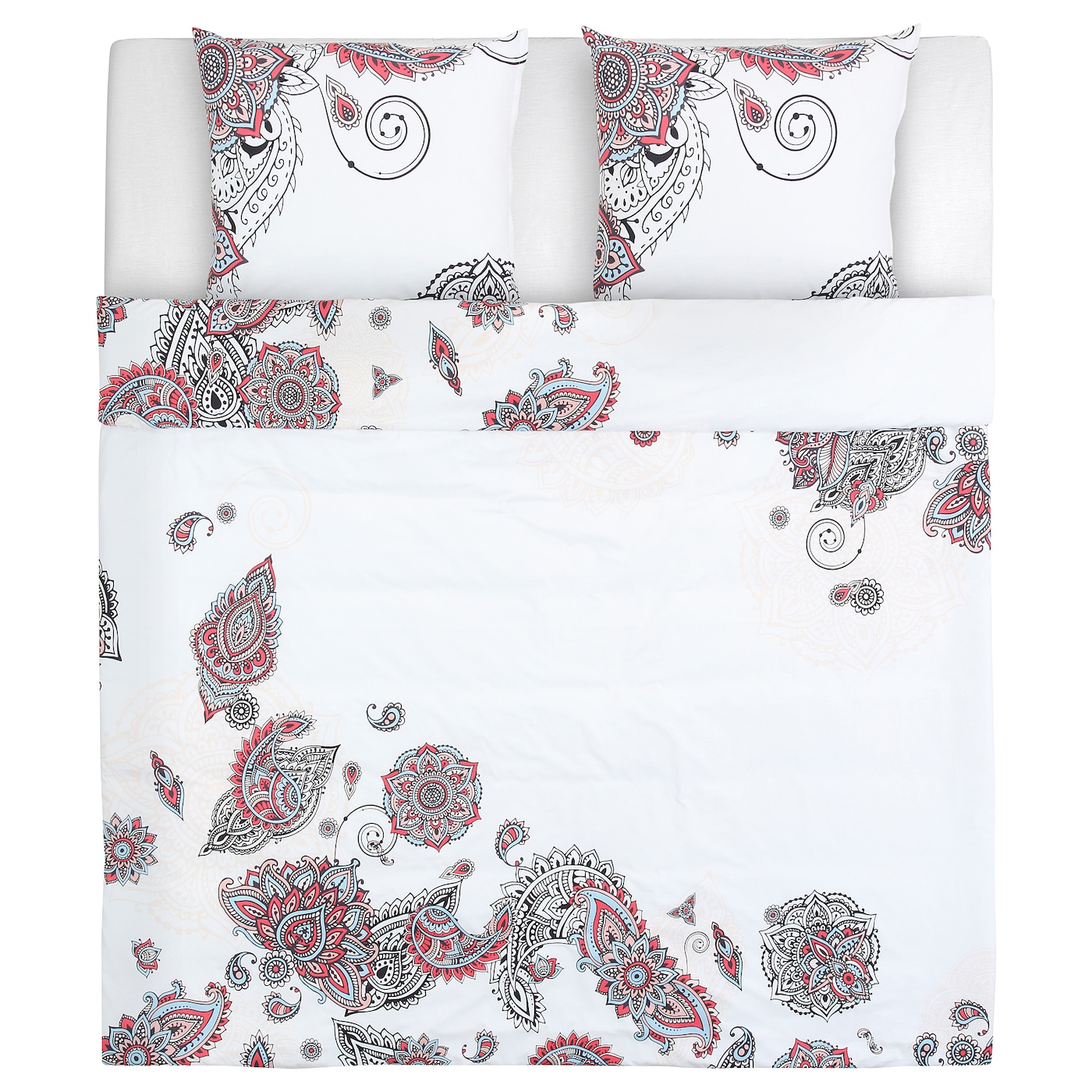 Beautiful IKEA STICKBRÄCKA Quilt Cover And 2 Pillowcases Concealed Press Studs Keep  The Quilt In Place.