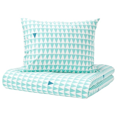 STILLSAMT Quilt cover and pillowcase, light turquoise, 150x200/50x80 cm