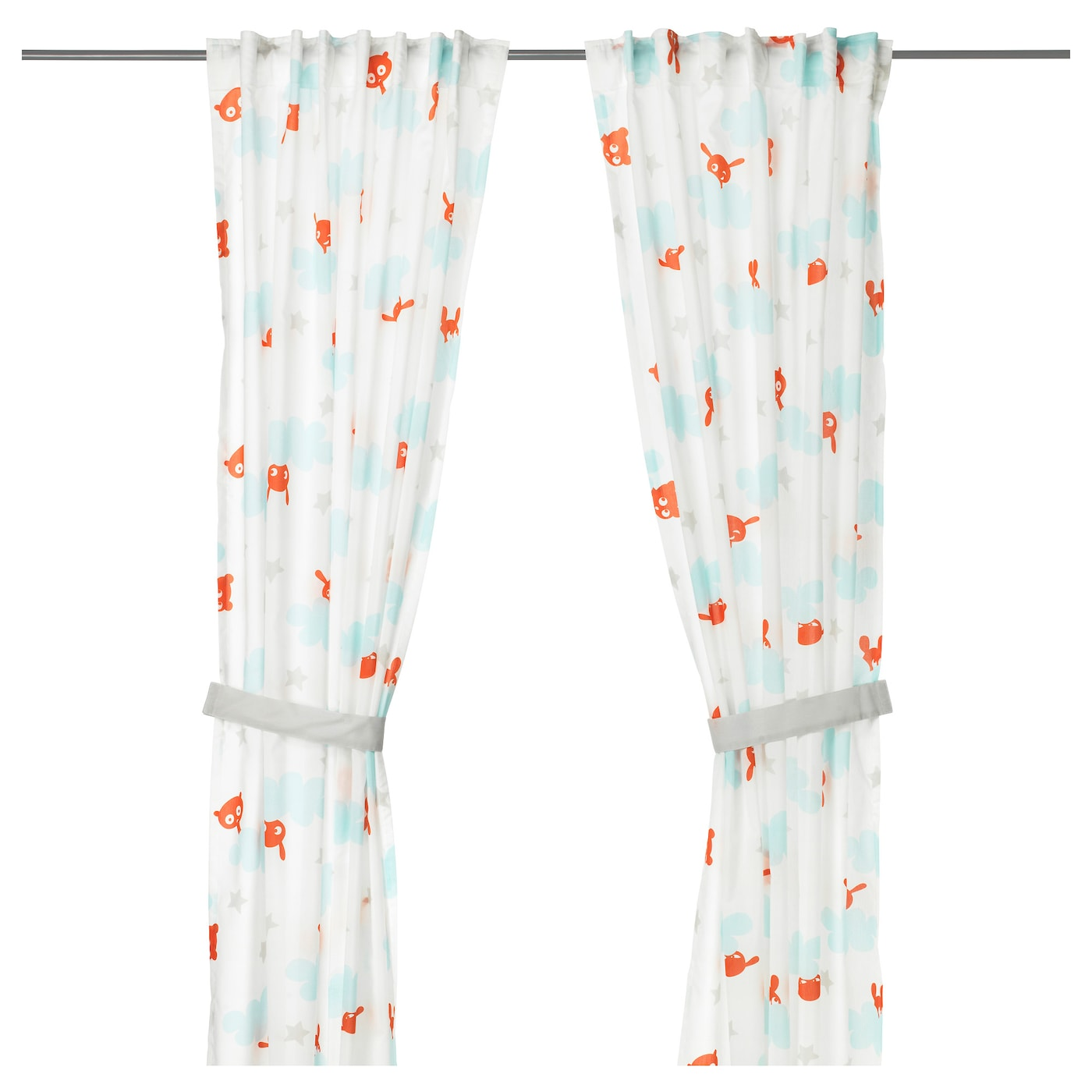 IKEA STJÄRNBILD curtains with tie-backs, 1 pair Easy to clean; machine wash, warm (40°C).