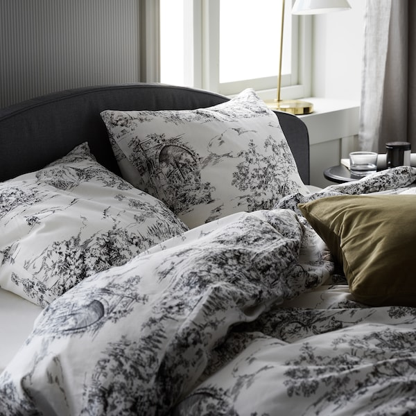 STJÄRNRAMS Quilt cover and 2 pillowcases, white/grey, 200x200/50x80 cm