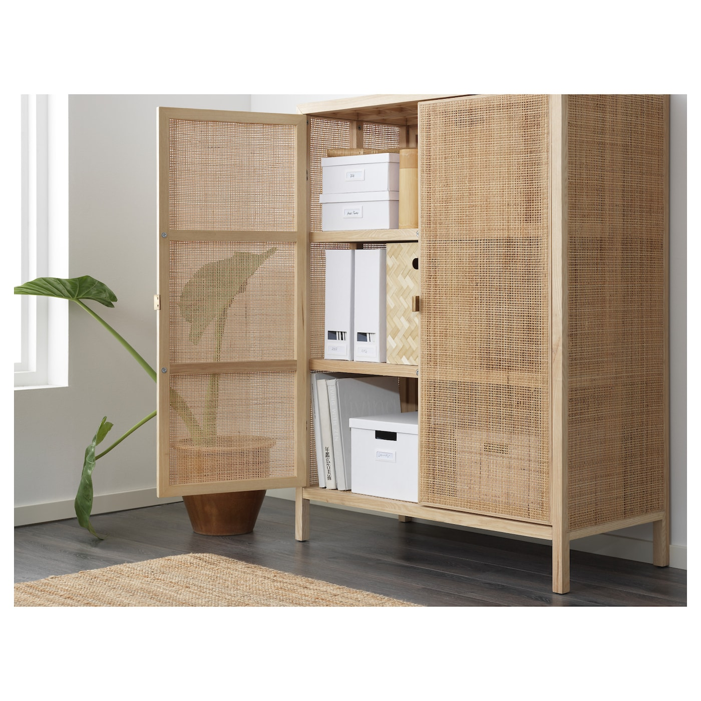 IKEA STOCKHOLM 2017 cabinet Made from rattan and ash, natural materials that age with grace.