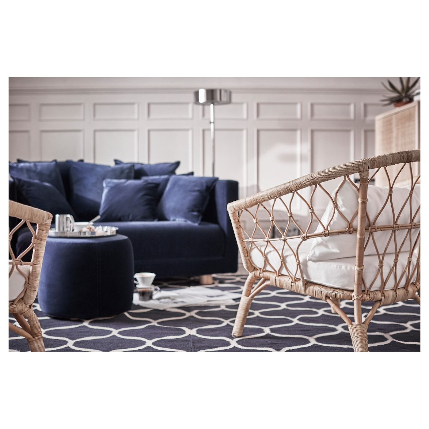 stockholm 2017 pouffe sandbacka dark blue 50 x 50 cm ikea. Black Bedroom Furniture Sets. Home Design Ideas