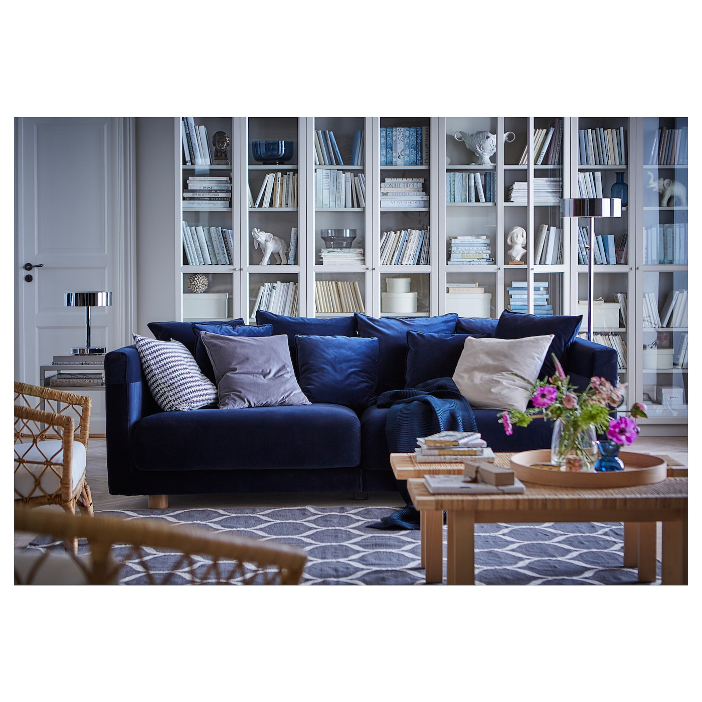 Stockholm 2017 Three Seat Sofa Sandbacka Dark Blue