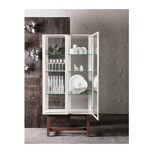 Ikea Glass Cabinet Fabrikor ~ STOCKHOLM Glass door cabinet Beige 90×180 cm  IKEA