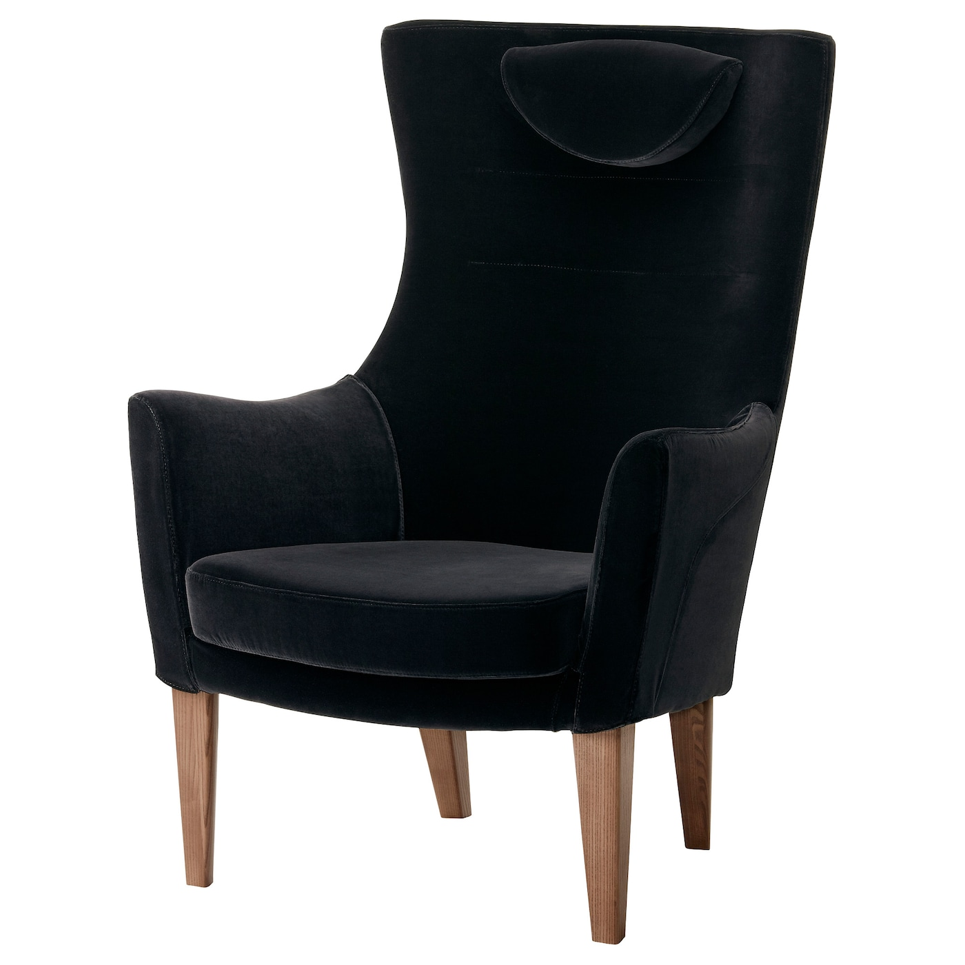 Stockholm high back armchair sandbacka black ikea for Armchair with high back