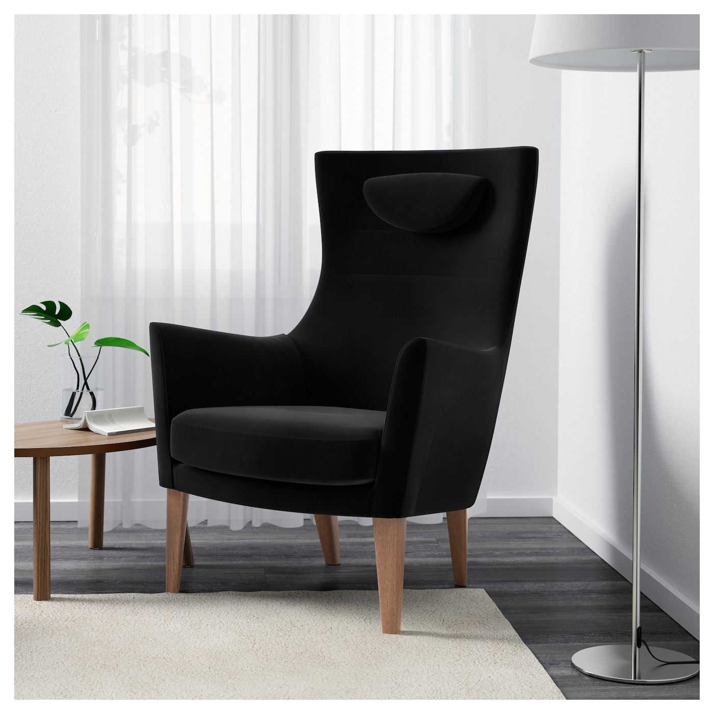 stockholm high back armchair sandbacka black ikea. Black Bedroom Furniture Sets. Home Design Ideas