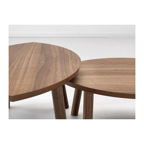 Stockholm nest of tables set of 2 walnut veneer ikea for Table gigogne ikea