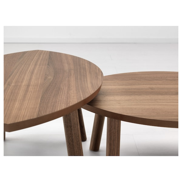 STOCKHOLM nest of tables, set of 2 walnut veneer 72 cm 47 cm 36 cm