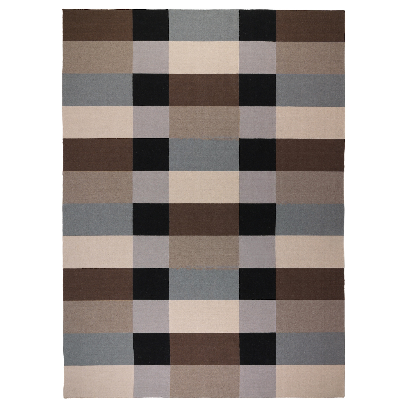 Stockholm rug flatwoven handmade chequered brown 250x350 for Ikea rugs