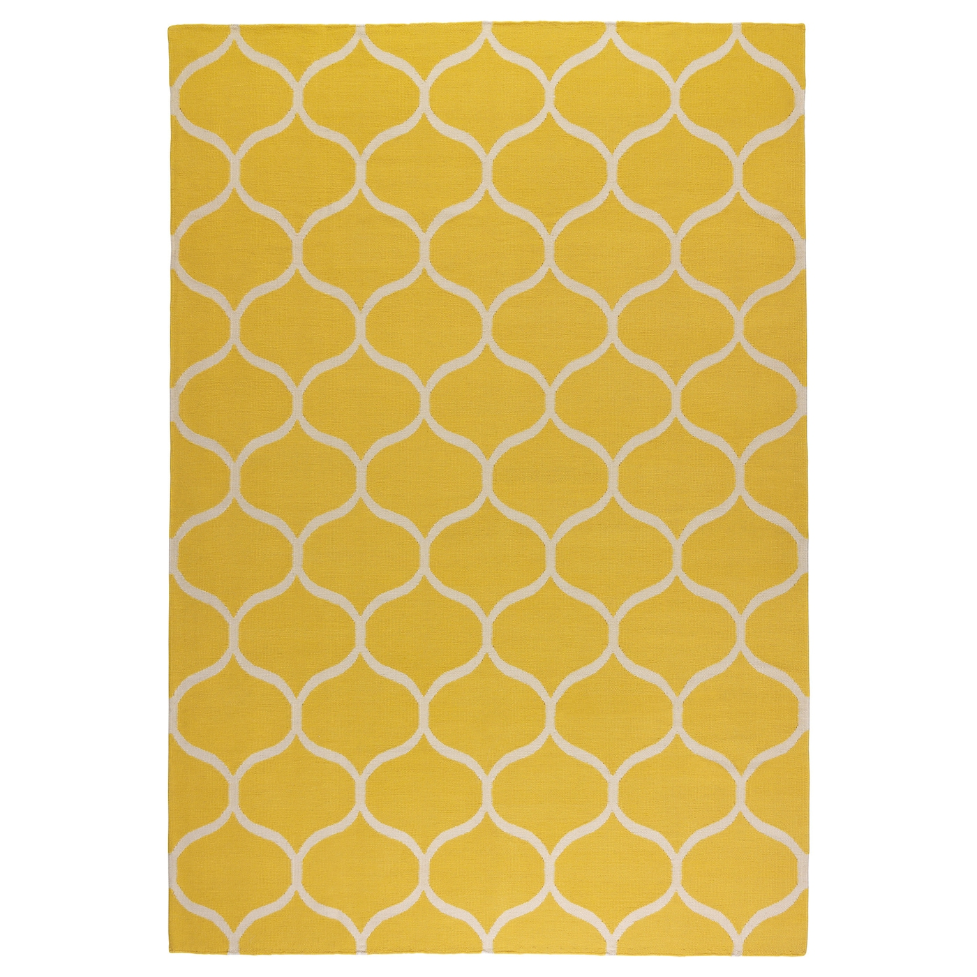 Stockholm rug flatwoven handmade net pattern yellow for Ikea rugs