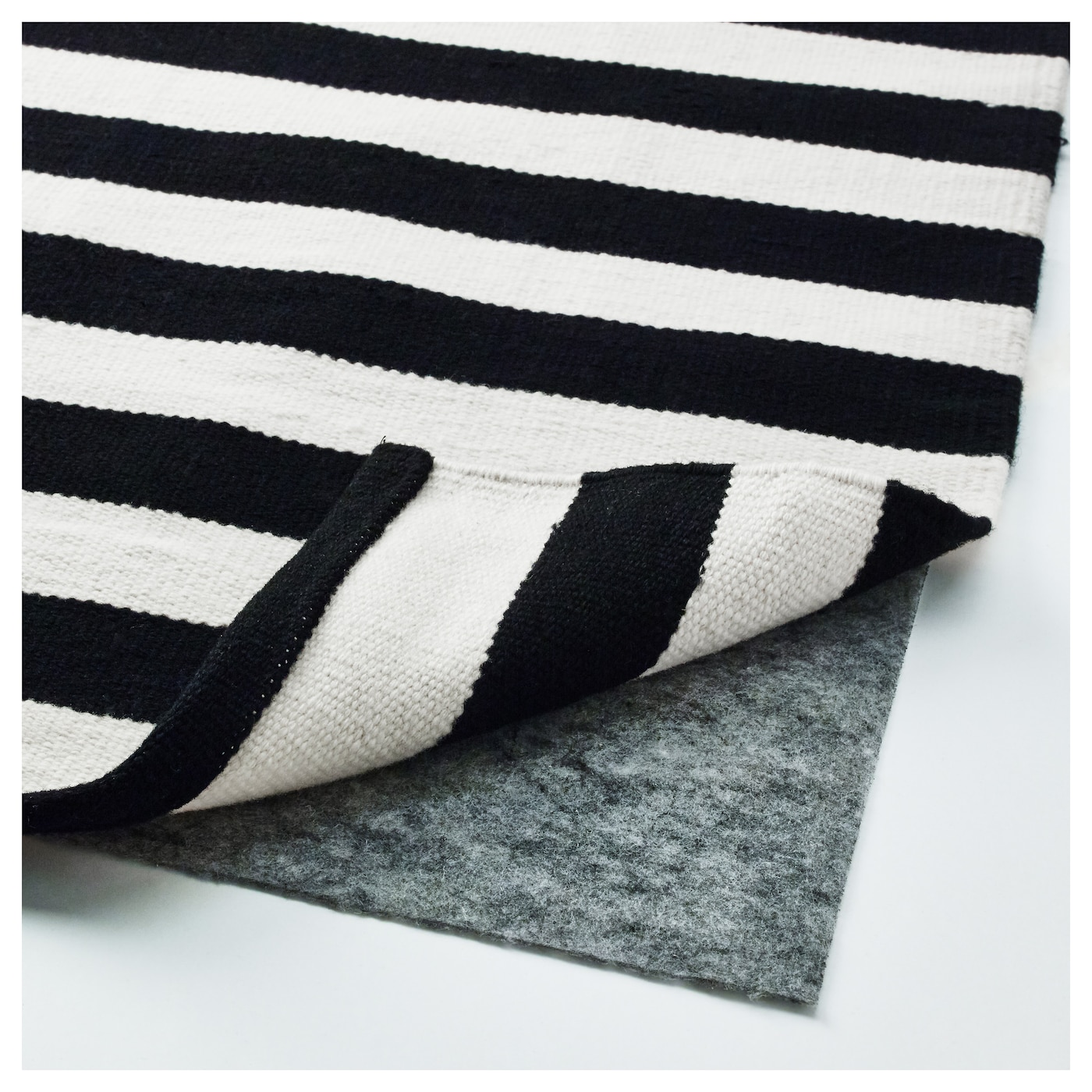stockholm rug flatwoven handmade striped black off white. Black Bedroom Furniture Sets. Home Design Ideas