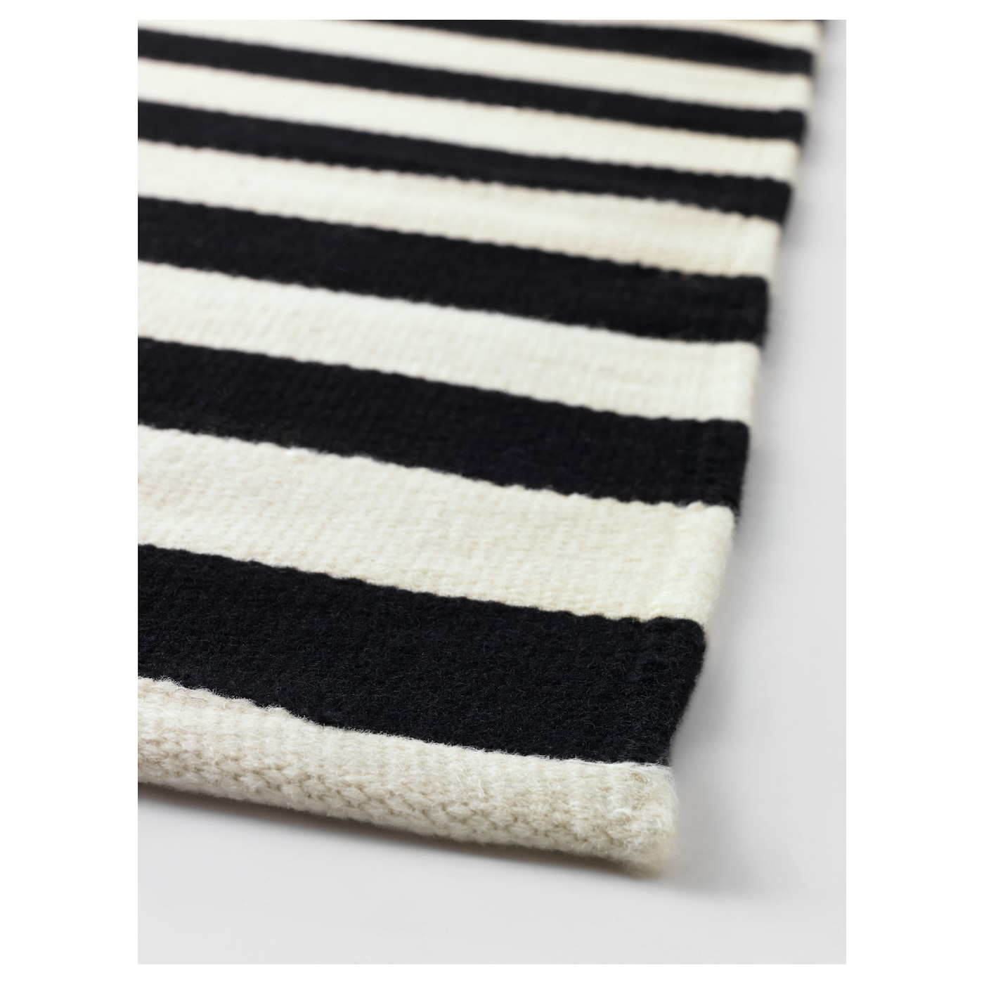 Stockholm rug flatwoven handmade striped black off white for Ikea rugs