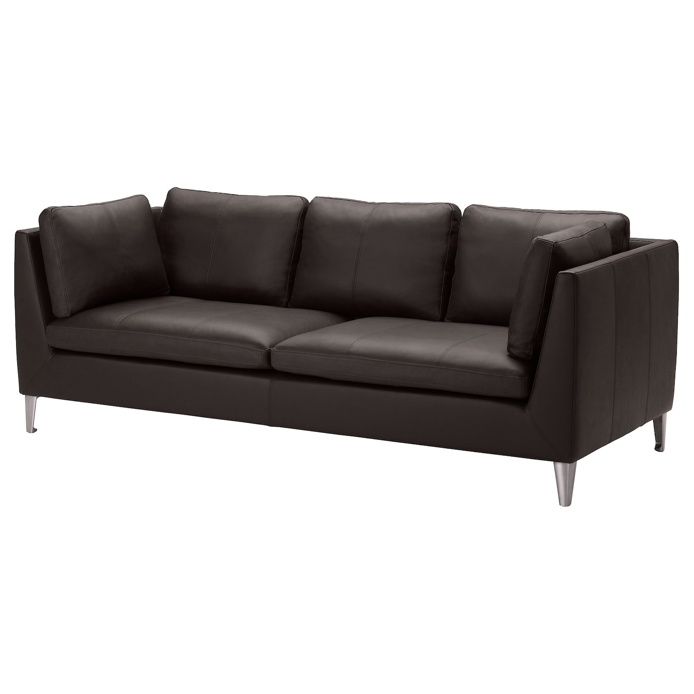 Stockholm three seat sofa seglora dark brown ikea for Canape ikea cuir