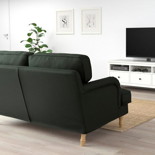 STOCKSUND 2-seat sofa, Nolhaga dark green/light brown/wood