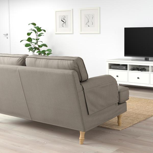 STOCKSUND 2-seat sofa, Nolhaga grey-beige/light brown/wood