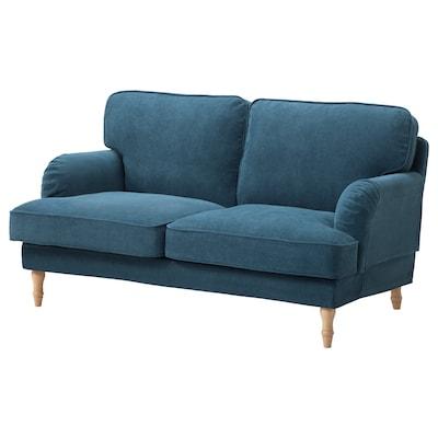 STOCKSUND 2-seat sofa, Tallmyra blue/light brown/wood