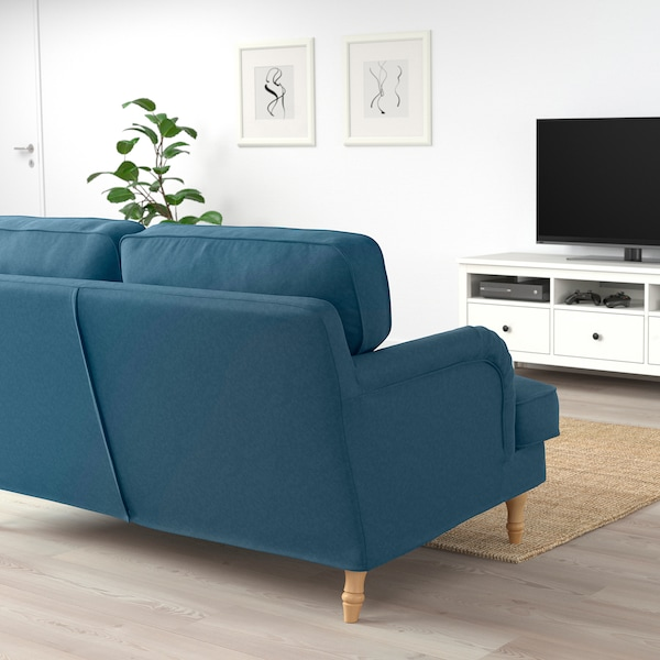 STOCKSUND 2-seat sofa, Tallmyra blue/light brown/wood