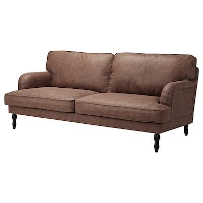 STOCKSUND 3-seat sofa, Järstad antique effect/black/wood