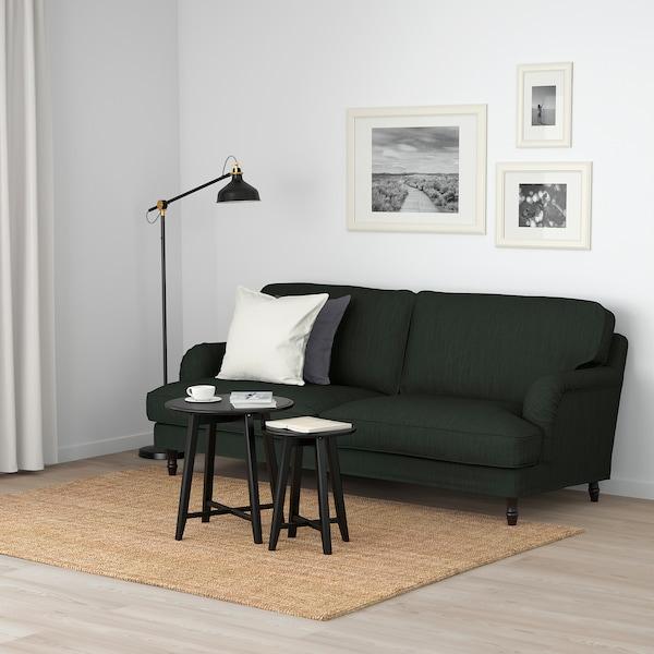 STOCKSUND 3-seat sofa, Nolhaga dark green/black/wood
