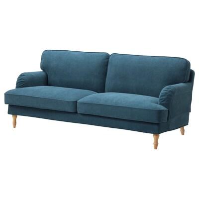 STOCKSUND 3-seat sofa, Tallmyra blue/light brown/wood