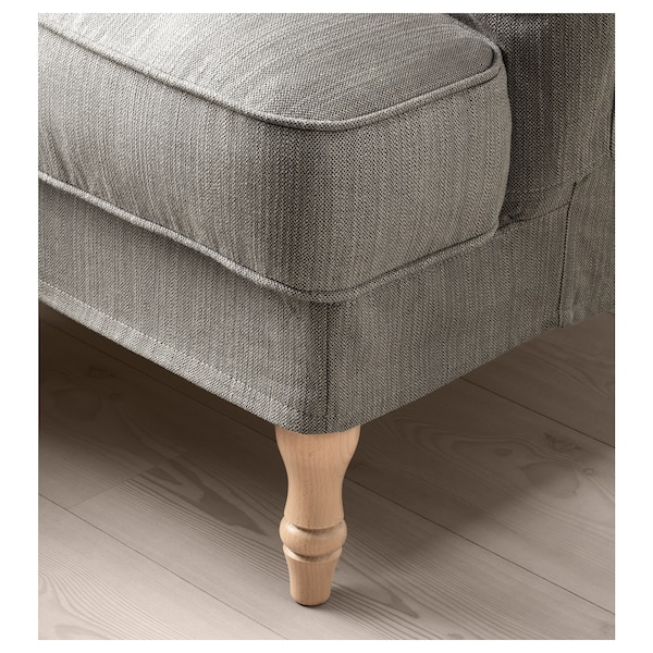 STOCKSUND Armchair, Nolhaga grey-beige/light brown/wood