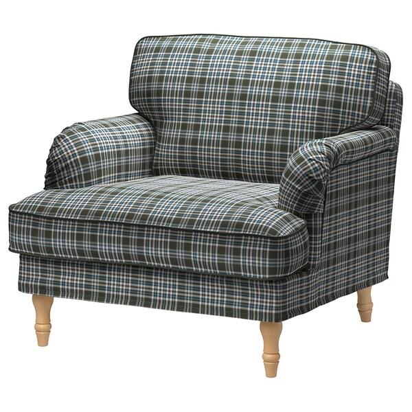 STOCKSUND Armchair, Segersta multicolour/light brown/wood
