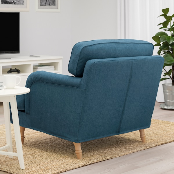 STOCKSUND Armchair, Tallmyra blue/light brown/wood