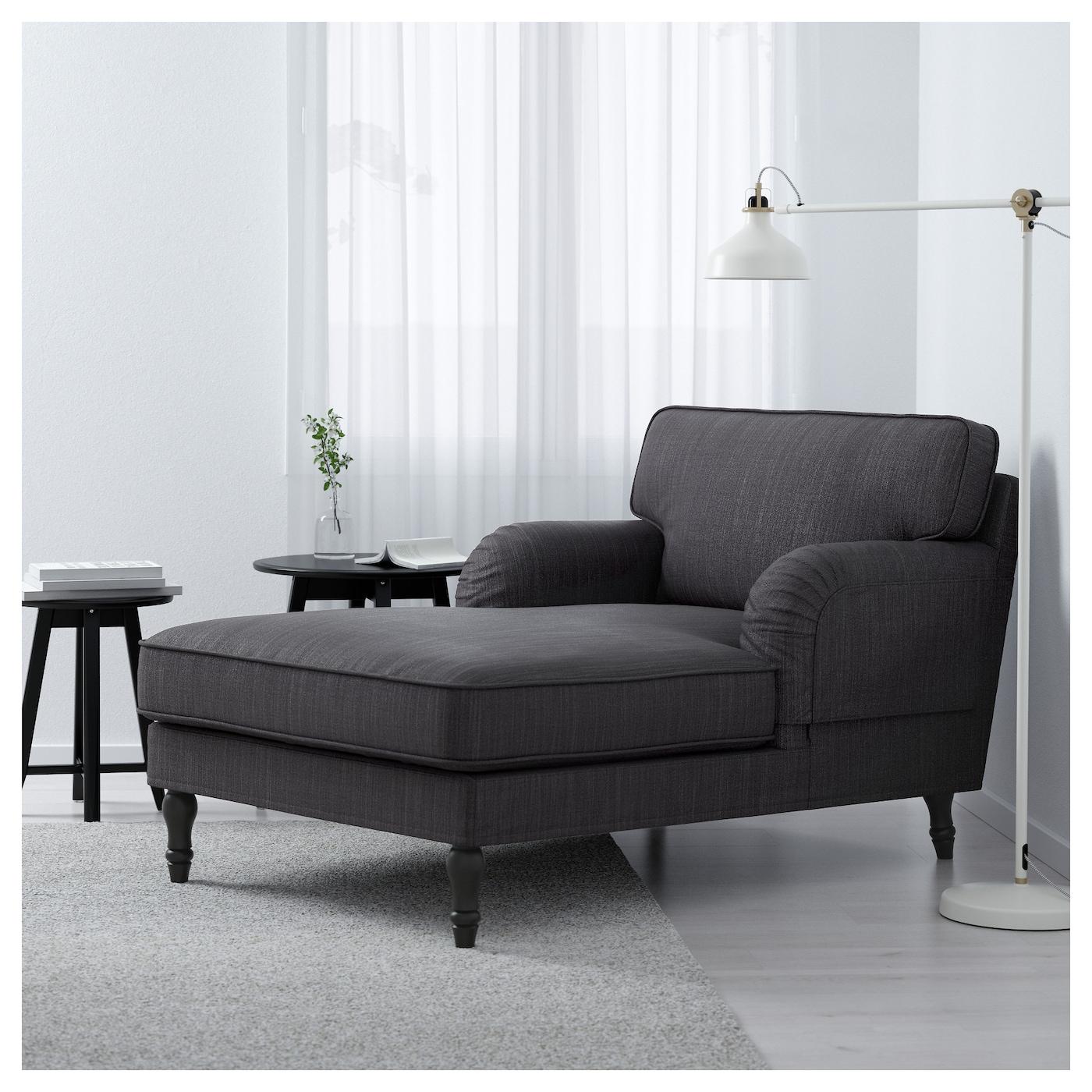 stocksund chaise longue nolhaga dark grey black wood ikea. Black Bedroom Furniture Sets. Home Design Ideas