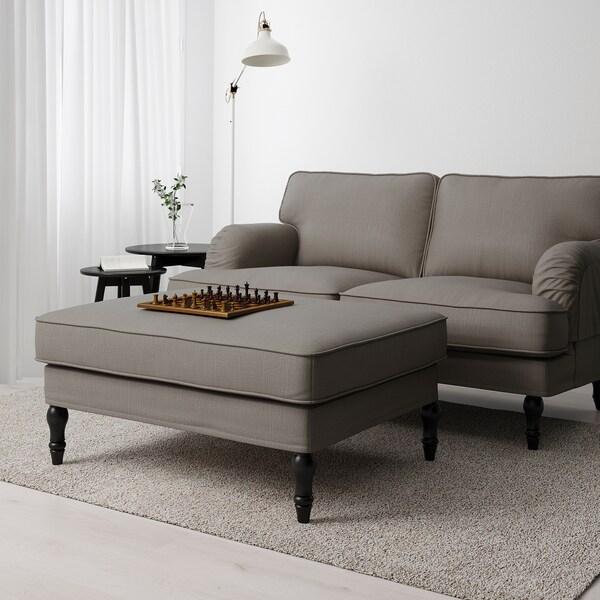 STOCKSUND Footstool, Nolhaga grey-beige/black/wood