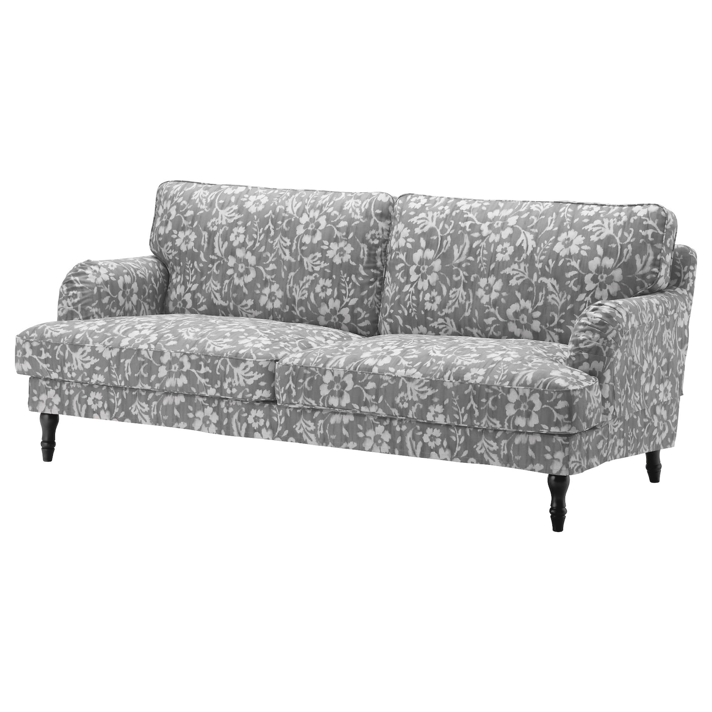 Stocksund three seat sofa hovsten grey white black wood ikea for Sofa und seat