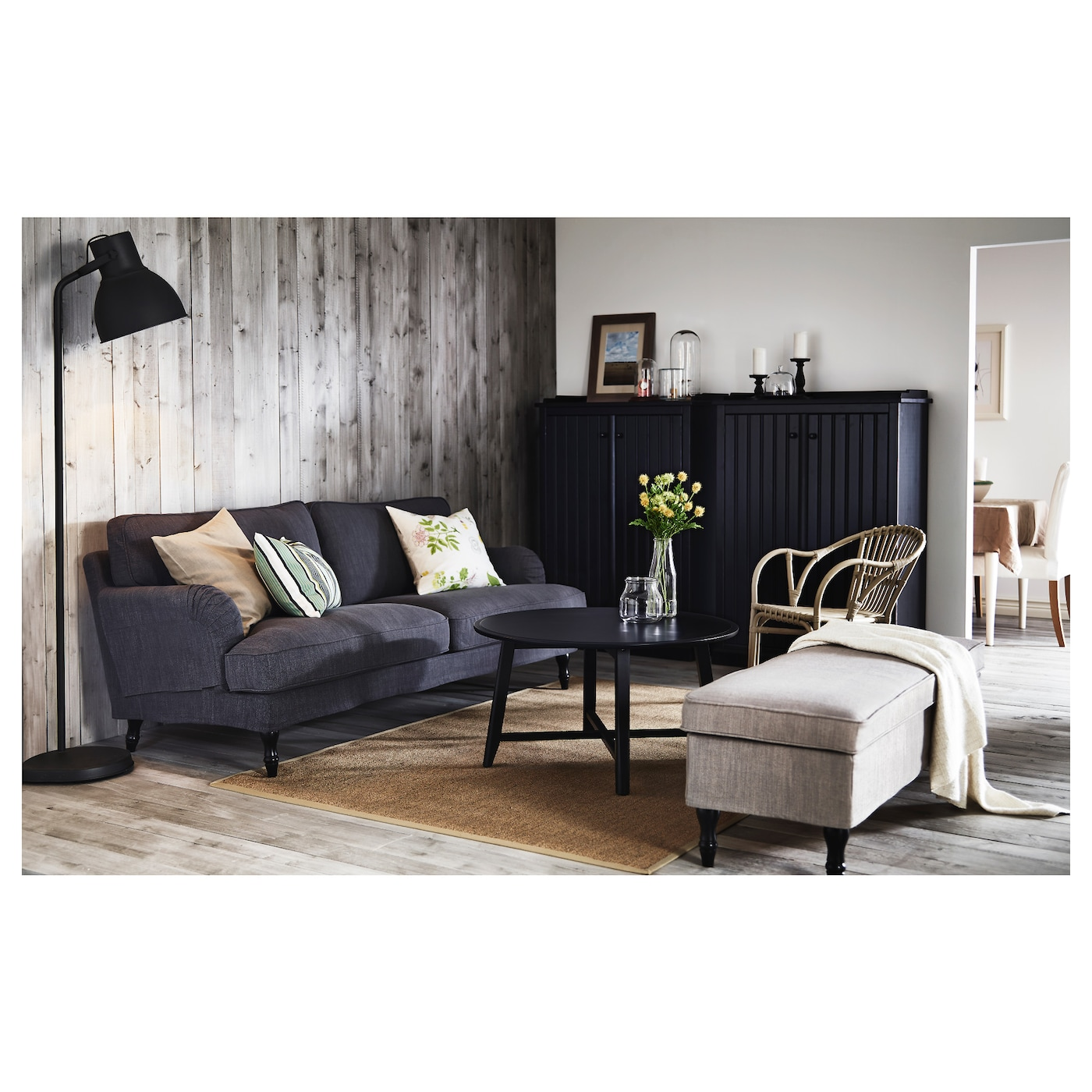 stocksund three-seat sofa nolhaga dark grey  black  wood