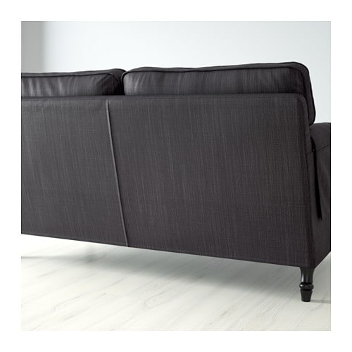 Schlafsofa ikea  STOCKSUND Three-seat sofa Nolhaga dark grey/black/wood - IKEA