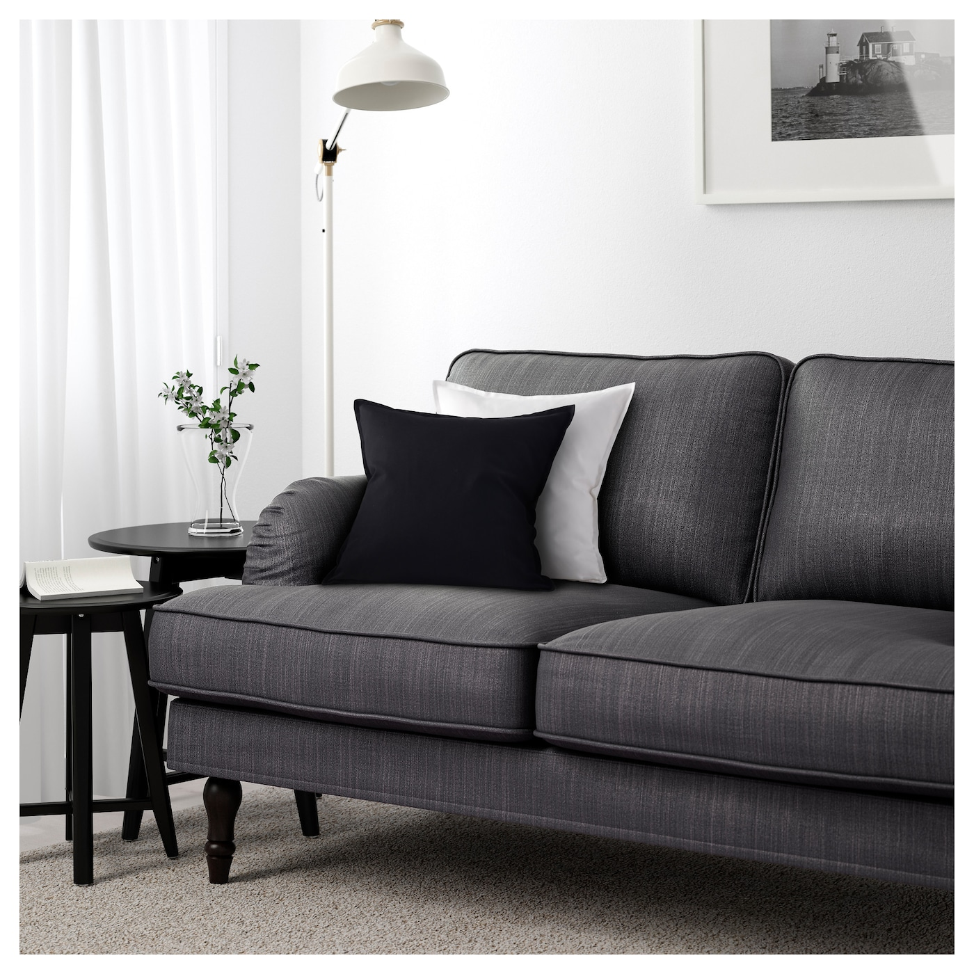 Stocksund three seat sofa nolhaga dark grey black wood ikea for Ikea gray sofa