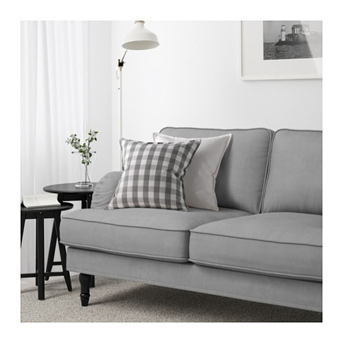 stocksund three seat sofa tallmyra grey black wood ikea. Black Bedroom Furniture Sets. Home Design Ideas